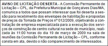 Jornal Oficial dos Municípios edição N°. 403 de 16 de março de 2009