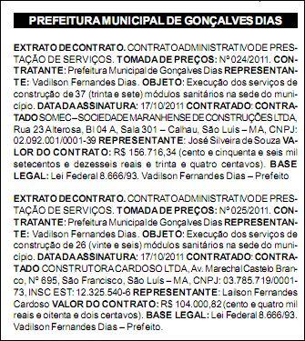 Diario Oficial dos Municípios do Maranhão, Edição número 712, do dia 20 de outubro de 2011.